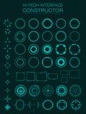 construtor da relação da Olá!-tecnologia Projete elementos para o hud, interface de utilizador, animação, projeto do movimento ilustração stock
