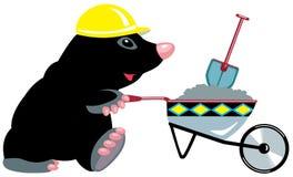 Construtor da toupeira dos desenhos animados com carrinho de mão Imagem de Stock