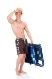 Construtor de corpo, cadeira de praia fotografia de stock