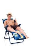 Construtor de corpo, cadeira de praia imagens de stock