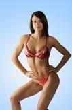 Construtor de corpo no vermelho Fotos de Stock Royalty Free