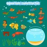 Construtor do aquário Peixes e decorações diferentes de Fishbowl para fazer seu aquário Imagens de Stock