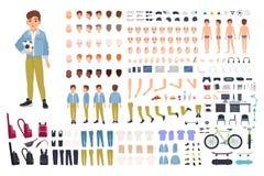 Construtor do caráter do rapaz pequeno Grupo da criação da criança masculina Posturas diferentes, penteado, cara, pés, mãos, roup ilustração royalty free