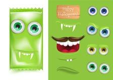 Construtor do criador de Dia das Bruxas Emoji do frankenstein do monstro dos doces Fotos de Stock