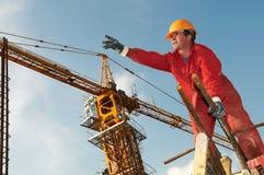 Construtor do trabalhador no canteiro de obras Fotografia de Stock Royalty Free