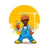 Construtor dos desenhos animados no uniforme com chave inglesa Imagem de Stock