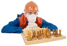 Construtor e xadrez Foto de Stock Royalty Free