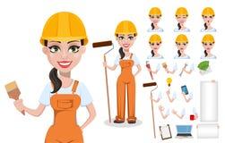 Construtor fêmea bonito no uniforme ilustração stock