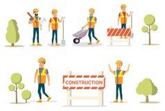 Construtor Group do grupo dos desenhos animados da ilustração do vetor ilustração stock