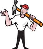 Construtor Hammer Cartoon do carpinteiro Imagens de Stock Royalty Free