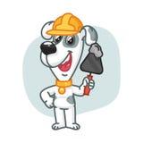 Construtor Holding Trowel do cão com cimento ilustração royalty free