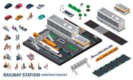 Construtor isométrico da estação de trem ilustração stock