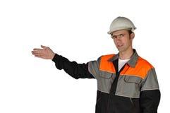 Construtor novo, apontando ao trabalho feito Imagem de Stock Royalty Free