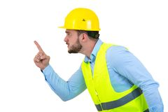 Construtor ou construtor irritado que gritam em alguém como o conceito da fúria isolado no fundo branco com copyspace fotos de stock royalty free