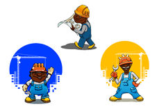 Construtor, pedreiro e coordenador dos desenhos animados Imagens de Stock Royalty Free