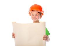 Construtor pequeno com plano de papel nas mãos Imagem de Stock