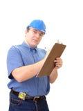 Construtor que toma notas foto de stock