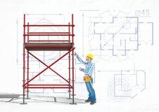 construtor que trabalha em um andaime 3D ilustração do vetor