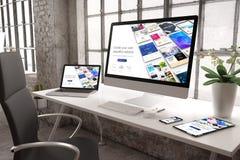 construtor responsivo do Web site do modelo industrial do escritório foto de stock