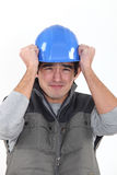 Construtor Scared fotos de stock royalty free