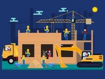 Construtores dos desenhos animados do vetor em um canteiro de obras Foto de Stock