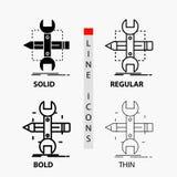 Construya, diseñe, conviértase, bosqueje, icono de las herramientas en línea y estilo finos, regulares, intrépidos del Glyph Ilus libre illustration