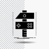 Construya, haga a mano, conviértase, el desarrollador, icono del Glyph del juego en fondo transparente Icono negro stock de ilustración