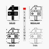 Construya, haga a mano, conviértase, el desarrollador, icono del juego en línea y estilo finos, regulares, intrépidos del Glyph I libre illustration