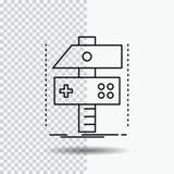 Construya, haga a mano, conviértase, el desarrollador, línea icono del juego en fondo transparente Ejemplo negro del vector del i stock de ilustración