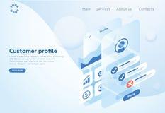 Construya un perfil de cliente en una aplicación móvil Situaciones del análisis y de la oficina de datos Ejemplo isométrico del v stock de ilustración