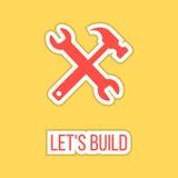 Construyamos con la etiqueta engomada de la llave y del martillo Fotografía de archivo libre de regalías