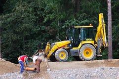 Construyendo una autopista sin peaje - construcción de carreteras Imágenes de archivo libres de regalías