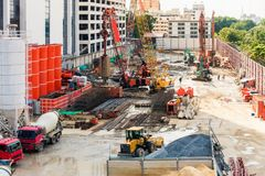 Constuction activities and operation machine at construction sit. E Stock Image