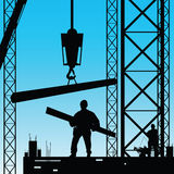 Constuction worker silhouette at work vector Royalty Free Stock Image