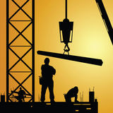 Constuction worker at work with crane Royalty Free Stock Photo