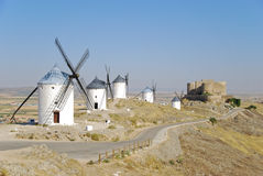 Consuegra castle and windmills Royalty Free Stock Image