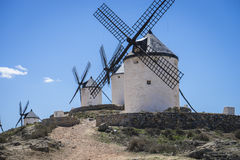 Consuegra, cereal mills mythical Castile in Spain, Don Quixote, Royalty Free Stock Image