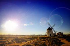 Consuegra is a litle town in the Spanish region of Castilla-La M. The windmills of Consuegra, featured in Cervantes novel Don Quixote, are a lovely attraction to Stock Photos