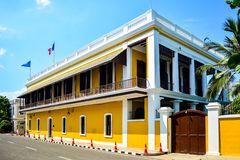 French Consulate building in Puducherry, India. Consulat général de France à Pondicherry is a French Consulate building in Pondicherry/ Puducherry in royalty free stock image