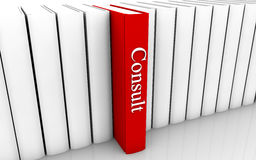 Consult book. Consult red book standing out from a row of book royalty free stock photos