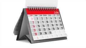 Consultação do calendário do desktop no fundo branco 3d isolados rendem ilustração do vetor