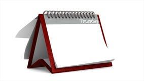 Consultação do calendário do desktop no fundo branco 3d isolados rendem vídeos de arquivo