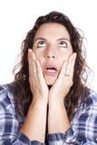 Consulta azul da face das mãos da expressão da mulher Imagens de Stock Royalty Free