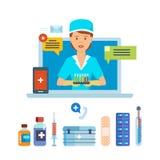 Consulta, consideración de denuncias y peticiones de pacientes en línea, cita ilustración del vector