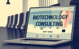 Consulta de la biotecnología - sobre la pantalla del ordenador portátil primer 3d imagen de archivo libre de regalías