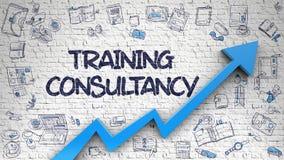 Consulta do treinamento tirada em Brickwall branco 3d Foto de Stock Royalty Free