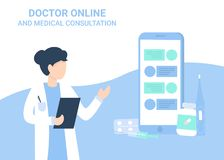 Consulta médica del cha? de la mujer y del teléfono del doctor ilustración del vector