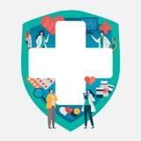 Consulta paciente ao doutor Conceito dos cuidados médicos, equipe médica Aplicação saudável Ilustração lisa do vetor ilustração stock