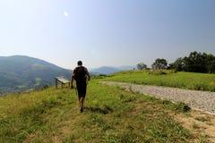 Consultando um painel explicativo durante uma caminhada nas montanhas imagens de stock