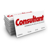 Consultant Business Cards Expertise Knowledge Skills Hiring Prof. Consultant word for expertise, knowledge, skills and professional contract work on business Stock Photo